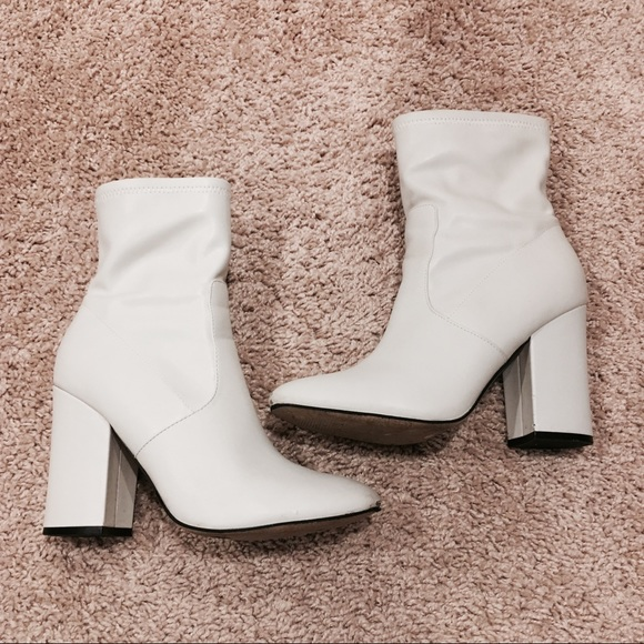 White Faux Leather Ankle Sock Boot